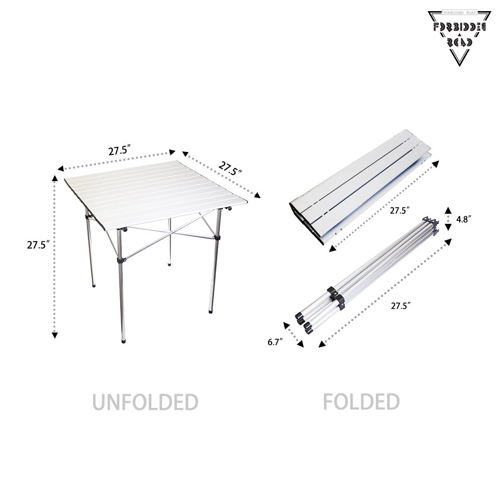 Forbidden Road Aluminum Folding Camping Table Lightweight Portable Picnic Table with Carry Bag Stable Durable Easy Set up for Patio Garden BBQ Beach Fishing Outdoor & Indoor - Silver by Forbidden Road (Image #6)