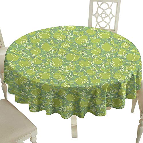 (The pattern round table cloth 70 Inch Apple,Abstract Apples with Leaves Healthy Living Themed Ornaments Nature Freshness,Apple Green Cream Great for,family,outdoors,restaurant,Party,Wedding,Coffee Bar)