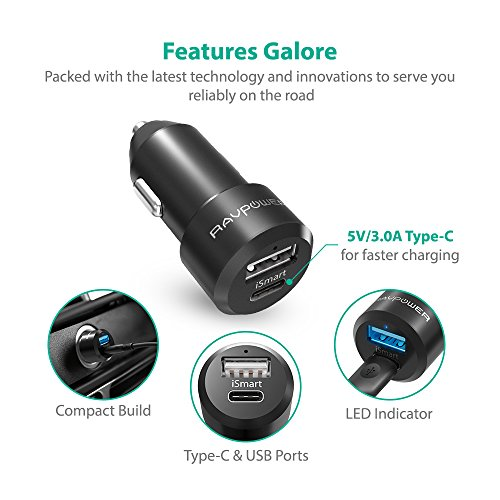 USB-C-Car-Charger-RAVPower-Type-C-Car-Adapter-with-5V-3A-USB-C-and-iSmart-20-Ports-for-Samsung-Galaxy-S8-S8-Plus-Note-8-Google-Pixel-XL-LG-G6-G5-V20-and-More