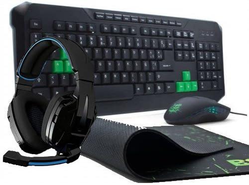 BG BGPACKXONAR USB Negro, Verde - Teclado (USB, Juego, Alámbrico, Universal, Derecho, Negro, Verde)