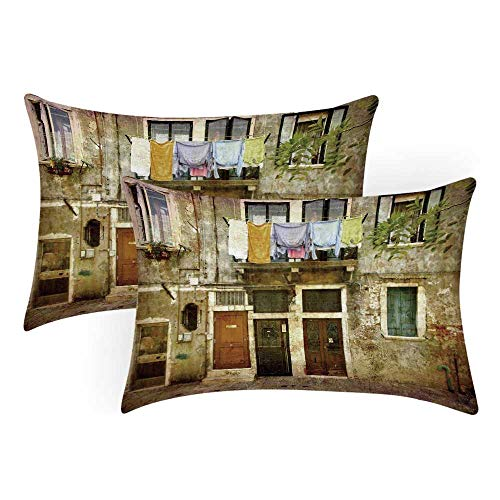 TecBillion Venice Comfortable Pillow Covers,Old Weathered Building Facade with Hanged Clothes Murano Island Grunge Architecture for Bedroom Living Room,Queen(30