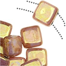 Czechmate 6mm Square Glass Czech Two Hole Tile Bead - Luster Opaque Rose/Gold Topaz