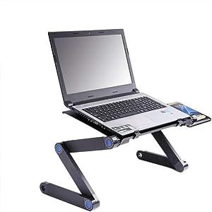 Laptop Desk Foldable PC Desk Aluminum Alloy Panel & 5V Fan Cooling Stand Foldable Legs Laptop Holder with Mouse Platform for Bed Sofa Table Carpet Meadow