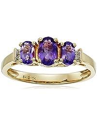 10k Yellow Gold Birthstone Three-Stone Diamond-Accented Ring
