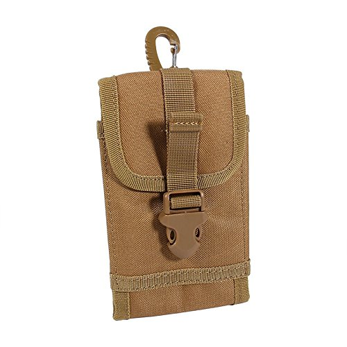 Kingsource iPhone 6S 6 7 iPhone 6 6S 7 Plus MOLLE Tactical Holster Pouch With Belt Clip Nylon Waist Bag Carrying Case Cover Money Pocket Purse Color Tan