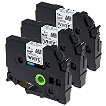 3 Cartridges P Touch Label Maker Tape Black on White TZe-231 Compatible for Brother PT-D200 PT-D210 PT-H100 PT-H110 PTD400AD PT-1290, 0.47 Inch (12mm) x 26.2 Feet (8m)
