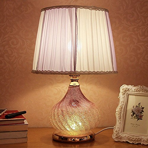 (HOMEE Purple Crystal Glass Table lamp e27 Bedside lamp Reading Living Room Bedroom Hotel Decoration Table lamp,Voltage:110v ~ 240v)
