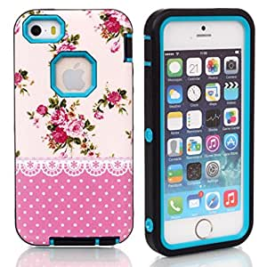 "5C case,Ezydigital Carryberry iPhone (iPhone"") case,3 in 1 Shell Cover for 5C (Sky Blue)"