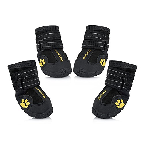 Petacc Dog Boots Water Resistant Dog Shoes for Large Dogs and Black Labrador 4 Pcs Size 7, Black