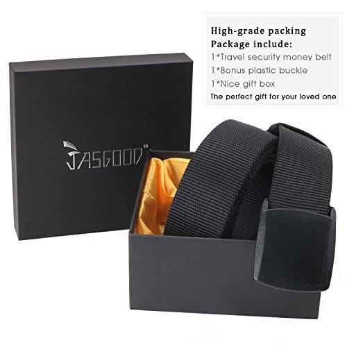 Travel Security Money Belt with Hidden Money Pocket - Cashsafe Anti-Theft Wallet Unisex Nickel free Nylon Belt by JASGOOD (Style 1-1.5'' width-Money belt, 1 Black-fit pant size 41-50'') by JASGOOD (Image #4)