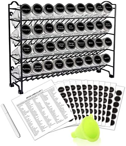 SWOMMOLY Spice Rack with 36 Empty Square Spice Jars, 396 Spice Labels with Chalk Marker and Funnel Complete Set, for Countertop, Cabinet or Wall Mount