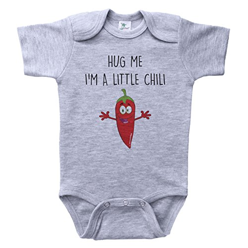 Food Onesie (Baffle Food Baby Onesie/Hug ME I'm A Little Chili/Unisex Infant Bodysuit (0-3M, Grey SS))