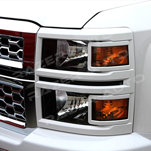 Razer Auto Summit White Headlight Trim Cover for 2014-2015 Chevy Chevrolet Silverado 1500
