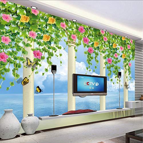 (Bb-Zonx 3D Photo Wallpaper Roman Column Flower Vine Blue Sky Wall Murals for Living Room Tv Backdrop Wallpaper Nature)