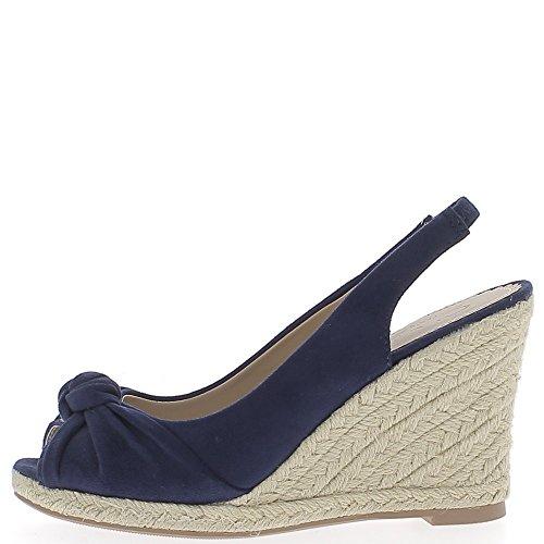 Scarpe Sandali donna blu 10cm aspetto Camoscio Zeppe