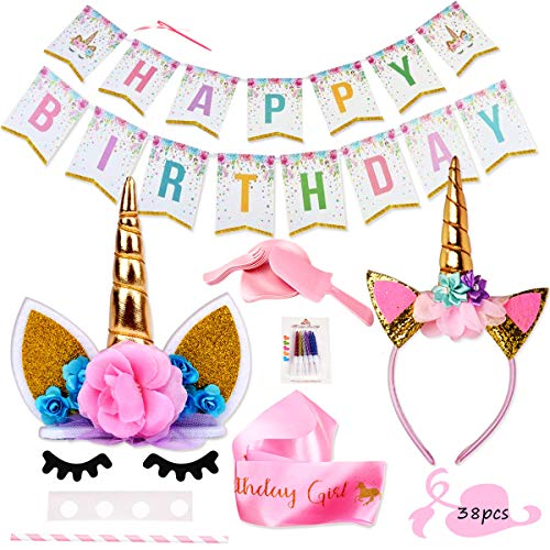 Lulonpon Unicorn Party Supplies Set with Cake Topper, Gold Swirl Candles,Cake Plate Combination,Eye Lashes,Headband,Shoulder Straps,for Birthday Party, Baby Shower,Wedding,Kids Party Decoration