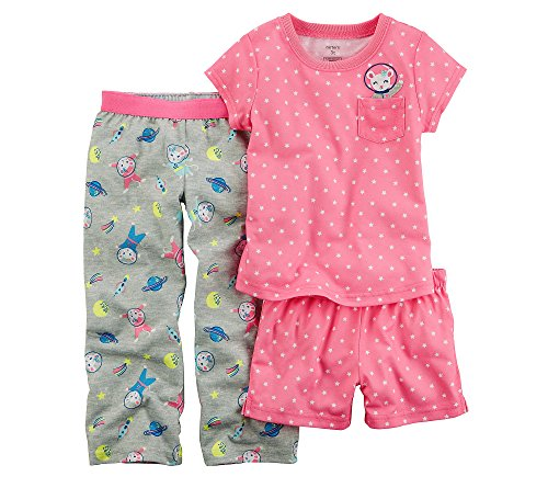 Carter's Baby Girls' 3-Pc. Astronaut Mouse Cotton Pajamas