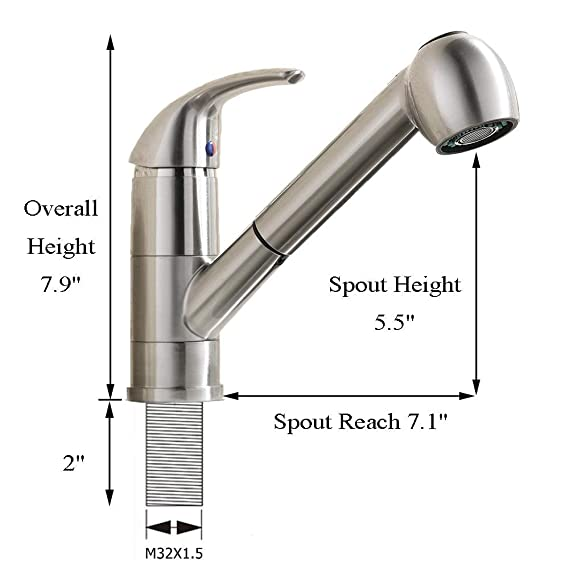 VCCUCINE Best Modern Commercial Brushed Nickel Stainless Steel Single Handle Pull Out Sprayer Bar Kitchen Faucet, Small Pull Down Kitchen Sink Faucets