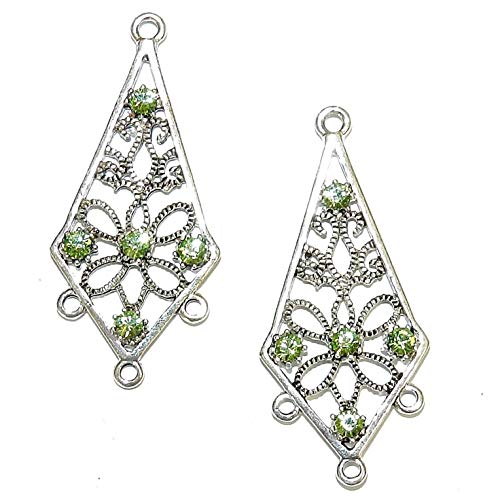 - Antiqued Silver 34mm Chandelier Drop Made with Peridot Crystal