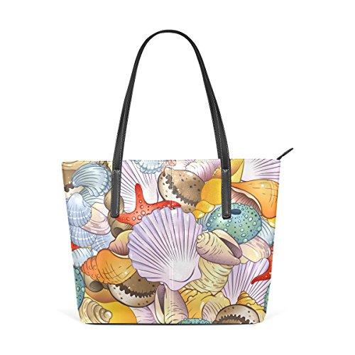COOSUN Conchas de mar de fondo de hombro bolso de cuero del monedero y bolsos de la bolsa de asas para las mujeres Medio muticolour