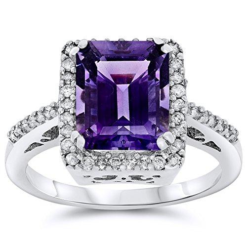Filigree Ring Gold Amethyst White - 14k White Gold Emerald Cut Purple Amethyst and Diamond Halo Ring, Birthstone of February