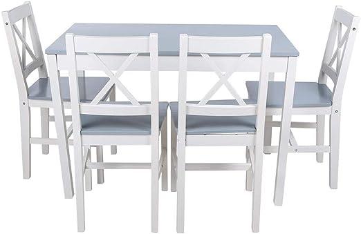 Mesa de Comedor con 4 Sillas,Conjunto de Mesa y Sillas Moderna Madera Maciza,para Sala Cocina Restaurante(Blueish Gray): Amazon.es: Hogar
