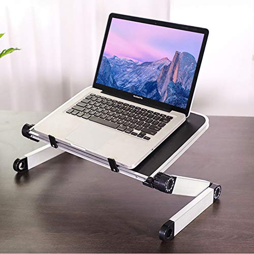RAINBEAN Adjustable Laptop Stand Table for Bed,Portable Lap Desk Stand Compatible Notebook Tablets MacBook,Foldable Lift Bracket Aluminum Ergonomics Design,Office or Home Desk-Black