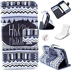 JOE Matata Tribal Lines Pattern PU Leather Case and Mini Display Stand with Diamond Dust Plug for iPhone 4/4S