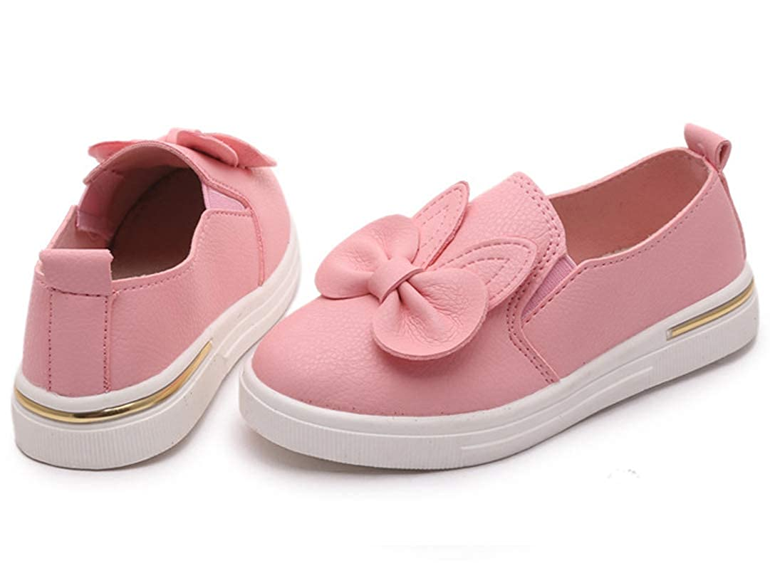 Toddler//Little Kid iDuoDuo Girls Sweet Bunny Ear Bow PU Leather Dress Flats Slip on Dress Loafers Shoes