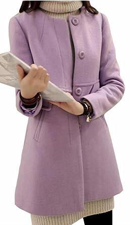 30fee2830c8 ouxiuli Women s Casual Elegant Thick Wool Blends Buttons Overcoat Pea Coat  Purple XS