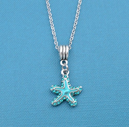 Starfish Clasp (Starfish charm pendant in acrylic on a 16 stainless steel chain with lobster claw clasp and two inch extender. Starfish necklace.)