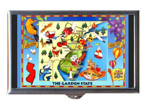 New Jersey, Garden State Map, Guitar Pick or Pill Box USA - Map Gardens Jersey