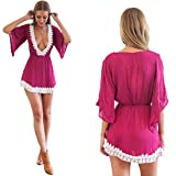 FashionWomen Sexy Womens Deep V-neck Macrame Mini Dress