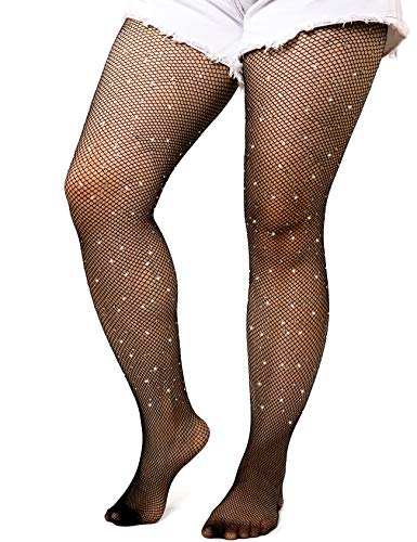 akiido High Waist Tights Fishnet Stockings Thigh High Stockings Pantyhose - Medium Fishnet