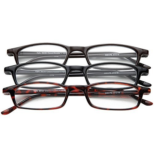 Classic Traditional Readers Half Eye Style Magnifying Reading Glasses +4.0 Set of 3 Pairs ValuPac
