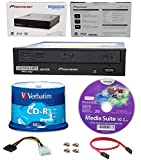 Pioneer 16x BDR-211UBK Internal Ultra HD Blu-ray BDXL Burner, Cyberlink Software and Cable Accessories Bundle with 50pk Recordable CD-R Verbatim 700MB 52X Branded Surface