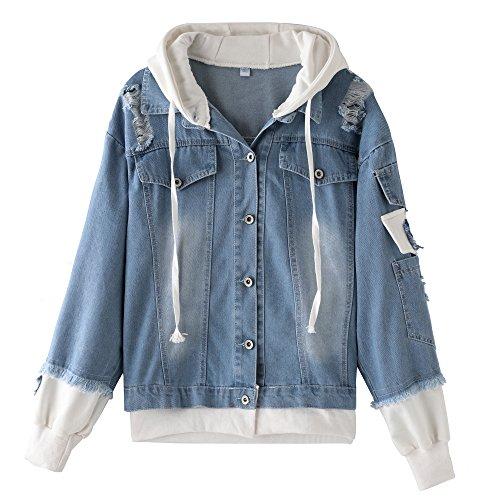 Thgonwid Oversize Denim Jacket For Women With Hooded Ripped Jean Jacket Boyfriend Coat (Jackets Denim Wholesale)