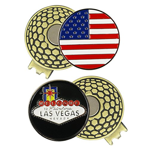 PINMEI 2 Sets of Golf Ball Markers with Magnetic Golf Hat Clip (USA Flag and LAS Vegas)