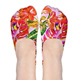 Island Style Floral Summer Beach Surf With Tropical Leaf Women's Thin Casual No Show Socks Non Slip Flat Boat Line