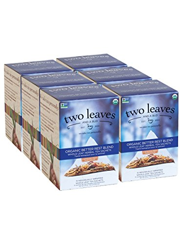Two Leaves and a Bud Organic Better Rest Blend Herbal Tea Bags, 15 Count (Pack of 6) Organic Whole Leaf Herbal Tea in Pyramid Sachet Bags, Delicious Hot or Iced with Milk or Sugar or Honey or Plain