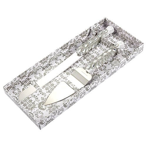 Silver Cake Server Set - Stainless Steel Wedding Knife with Diamonds, Crystals, Ribbon Wrapped Around Handle ()