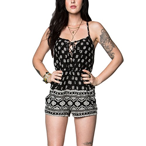 Metal Mulisha Junior's Tonight Romper, Jet Black, L
