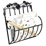 Woopoo Wall Mounted Magazine File & Mail Basket Holder for Home & Office Metal Wall Organizer Rosette Newspaper Rack Mail Holder