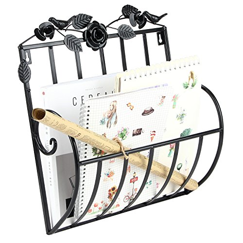 Woopoo Wall Mounted Magazine File & Mail Basket Holder for Home & Office Metal Wall Organizer Rosette Newspaper Rack Mail Holder by Woopoo