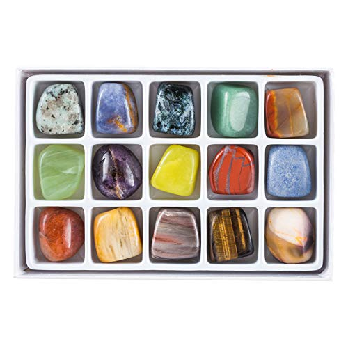 (15 Semiprecisous Gemstones Polished Natural Box Collection, Large 3/4 to 1 inch (Set 4))