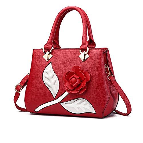 New Womens Ladies Girl Crossbody Shoulder PU Top Handle Handbag Tote Handbag Satchel Leather PU Top Handle with Rose Flower Red ()