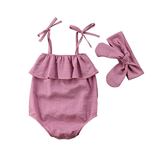 Newborn Baby Girl Romper Stripes Ruffle Off Shoulder Bodysuit Bowknot Headband Summer Clothes Outfits Set (Pink Stripes, 3-9 Months)