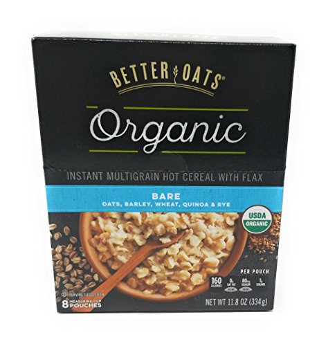 (Better Oats Organic Multigrain Bare Instant Oatmeal with Flax Oats, Barley, Wheat, Quinoa and Rye - 3 Pack with 8 measuring cup pouches each)