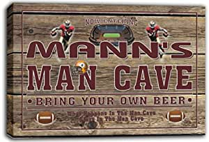 scqa1-1351 MANN'S Football Man Cave Beer Pub Stretched Canvas Print Sign