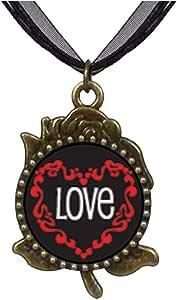Chicforest Bronze Retro Style Love In Heart Rose Flower Pendant